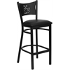 Flash Furniture HERCULES Series Black Coffee Back Metal Restaurant Barstool - Black Vinyl Seat