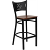 Flash Furniture HERCULES Series Black Coffee Back Metal Restaurant Barstool - Cherry Wood Seat