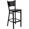 HERCULES Series Black Coffee Back Metal Restaurant Barstool - Mahogany Wood Seat