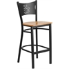 Flash Furniture HERCULES Series Black Coffee Back Metal Restaurant Barstool - Natural Wood Seat