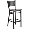 Flash Furniture HERCULES Series Black Coffee Back Metal Restaurant Barstool - Walnut Wood Seat