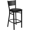Flash Furniture HERCULES Series Black Grid Back Metal Restaurant Barstool - Black Vinyl Seat