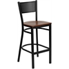 Flash Furniture HERCULES Series Black Grid Back Metal Restaurant Barstool - Cherry Wood Seat