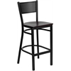 HERCULES Series Black Grid Back Metal Restaurant Barstool - Mahogany Wood Seat