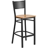 HERCULES Series Black Grid Back Metal Restaurant Barstool - Natural Wood Seat