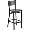 HERCULES Series Black Grid Back Metal Restaurant Barstool - Walnut Wood Seat