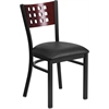 HERCULES Series Black Decorative Cutout Back Metal Restaurant Chair - Mahogany Wood Back, Black Vinyl Seat