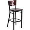Flash Furniture HERCULES Series Black Decorative Cutout Back Metal Restaurant Barstool - Mahogany Wood Back & Seat