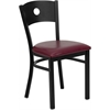 Flash Furniture HERCULES Series Black Circle Back Metal Restaurant Chair - Burgundy Vinyl Seat