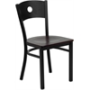 Flash Furniture HERCULES Series Black Circle Back Metal Restaurant Chair - Mahogany Wood Seat