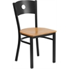 Flash Furniture HERCULES Series Black Circle Back Metal Restaurant Chair - Natural Wood Seat
