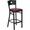 Flash Furniture HERCULES Series Black Circle Back Metal Restaurant Barstool - Burgundy Vinyl Seat