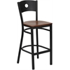 Flash Furniture HERCULES Series Black Circle Back Metal Restaurant Barstool - Cherry Wood Seat