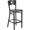 Flash Furniture HERCULES Series Black Circle Back Metal Restaurant Barstool - Walnut Wood Seat