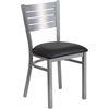 Flash Furniture HERCULES Series Silver Slat Back Metal Restaurant Chair - Black Vinyl Seat