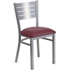 Flash Furniture HERCULES Series Silver Slat Back Metal Restaurant Chair - Burgundy Vinyl Seat