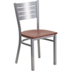 Flash Furniture HERCULES Series Silver Slat Back Metal Restaurant Chair - Cherry Wood Seat