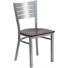 Flash Furniture HERCULES Series Silver Slat Back Metal Restaurant Chair - Walnut Wood Seat