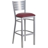 Flash Furniture HERCULES Series Silver Slat Back Metal Restaurant Barstool - Burgundy Vinyl Seat