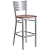 Flash Furniture HERCULES Series Silver Slat Back Metal Restaurant Barstool - Cherry Wood Seat