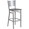 Flash Furniture HERCULES Series Silver Slat Back Metal Restaurant Barstool - Mahogany Wood Seat