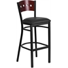 HERCULES Series Black Decorative 4 Square Back Metal Restaurant Barstool - Mahogany Wood Back, Black Vinyl Seat