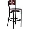 HERCULES Series Black Decorative 4 Square Back Metal Restaurant Barstool - Mahogany Wood Back & Seat