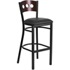 HERCULES Series Black Decorative 3 Circle Back Metal Restaurant Barstool - Walnut Wood Back, Black Vinyl Seat