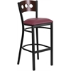 HERCULES Series Black Decorative 3 Circle Back Metal Restaurant Barstool - Walnut Wood Back, Burgundy Vinyl Seat