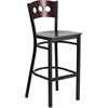 HERCULES Series Black Decorative 3 Circle Back Metal Restaurant Barstool - Walnut Wood Back & Seat