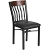 Eclipse Series Vertical Back Black Metal and Walnut Wood Restaurant Chair with Black Vinyl Seat