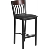 Flash Furniture Eclipse Series Vertical Back Black Metal and Walnut Wood Restaurant Barstool with Black Vinyl Seat