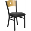 Flash Furniture HERCULES Series Black Circle Back Metal Restaurant Chair - Natural Wood Back, Black Vinyl Seat