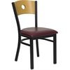 Flash Furniture HERCULES Series Black Circle Back Metal Restaurant Chair - Natural Wood Back, Burgundy Vinyl Seat