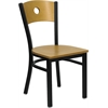 HERCULES Series Black Circle Back Metal Restaurant Chair - Natural Wood Back & Seat