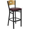 Flash Furniture HERCULES Series Black Circle Back Metal Restaurant Barstool - Natural Wood Back, Burgundy Vinyl Seat