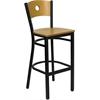 HERCULES Series Black Circle Back Metal Restaurant Barstool - Natural Wood Back & Seat
