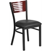 HERCULES Series Black Decorative Slat Back Metal Restaurant Chair - Mahogany Wood Back, Black Vinyl Seat