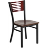 HERCULES Series Black Decorative Slat Back Metal Restaurant Chair - Mahogany Wood Back & Seat