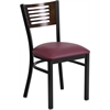 HERCULES Series Black Decorative Slat Back Metal Restaurant Chair - Walnut Wood Back, Burgundy Vinyl Seat
