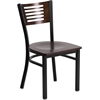 HERCULES Series Black Decorative Slat Back Metal Restaurant Chair - Walnut Wood Back & Seat