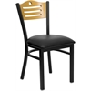 Flash Furniture HERCULES Series Black Slat Back Metal Restaurant Chair - Natural Wood Back, Black Vinyl Seat