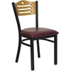 HERCULES Series Black Slat Back Metal Restaurant Chair - Natural Wood Back, Burgundy Vinyl Seat