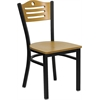 Flash Furniture HERCULES Series Black Slat Back Metal Restaurant Chair - Natural Wood Back & Seat
