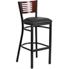 HERCULES Series Black Decorative Slat Back Metal Restaurant Barstool - Mahogany Wood Back, Black Vinyl Seat