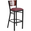 HERCULES Series Black Decorative Slat Back Metal Restaurant Barstool - Mahogany Wood Back, Burgundy Vinyl Seat