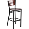HERCULES Series Black Decorative Slat Back Metal Restaurant Barstool - Mahogany Wood Back & Seat