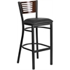 HERCULES Series Black Decorative Slat Back Metal Restaurant Barstool - Walnut Wood Back, Black Vinyl Seat