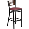 HERCULES Series Black Decorative Slat Back Metal Restaurant Barstool - Walnut Wood Back, Burgundy Vinyl Seat