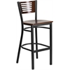 Flash Furniture HERCULES Series Black Decorative Slat Back Metal Restaurant Barstool - Walnut Wood Back & Seat